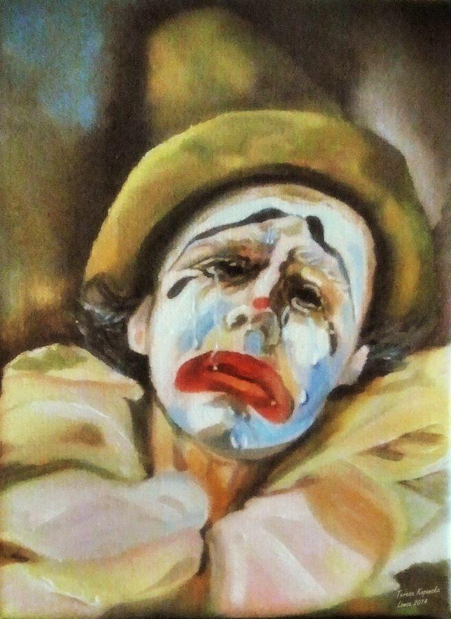 Płaczący Pierrot - olej na płótnie, autor: Teresa Kopańska