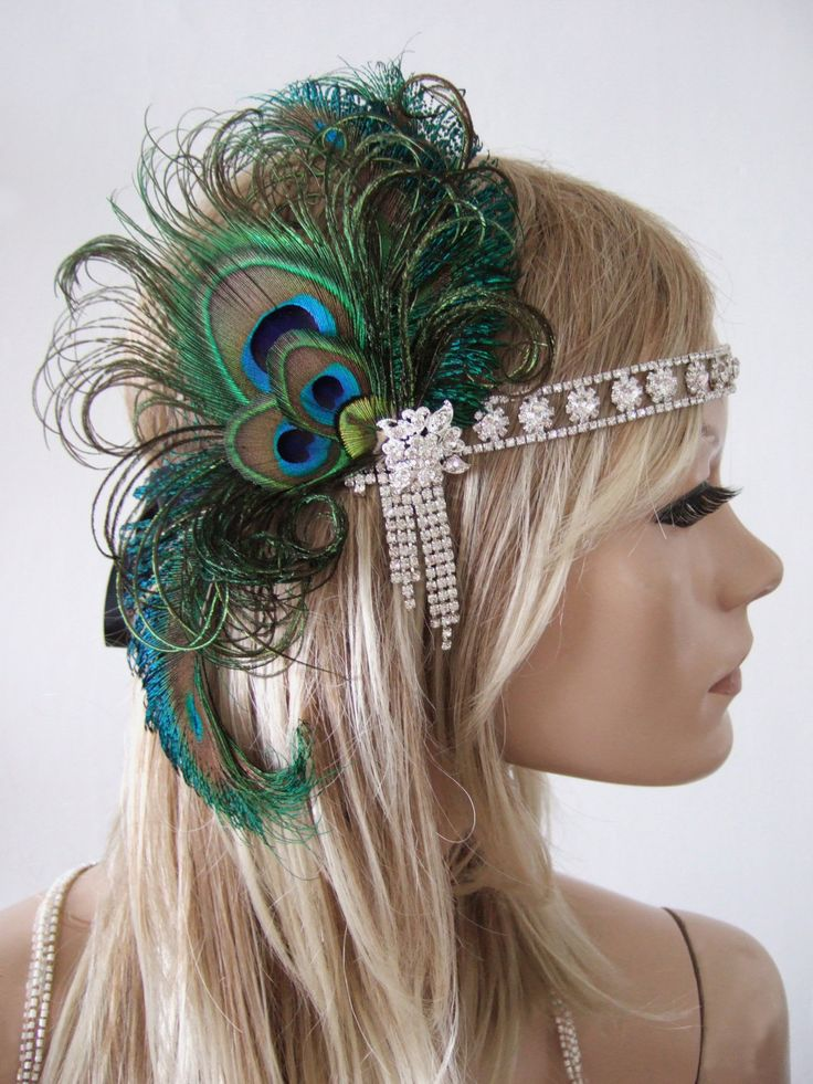 """Green Black Peacock Feathers Flapper Crystal Headband """"Kat"""" Gatsby Art Deco Style Fascinator 1920's Ball Cocktail Birthday Party Headpiece by Dress2ImpressEtsy on Etsy"""