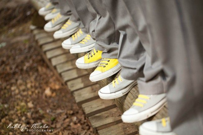 Converse shoes at wedding. Except purple and black instead of the yellow and grey.