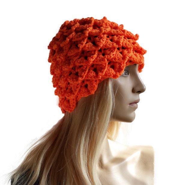 Orange Crochet Crocodile Stitch Hat / Beret