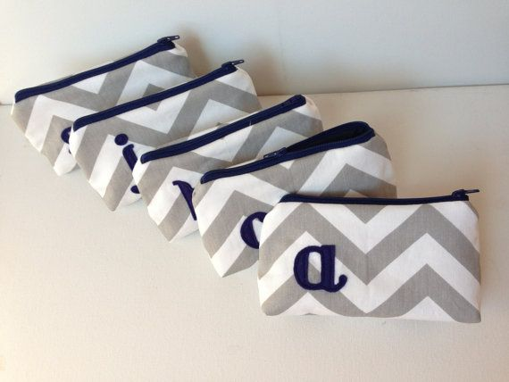 Five Navy & Grey Monogram Bridal Cosmetic Bags, Bridesmaids Gift, Wedding Party, Autumn Fall Blue Silver