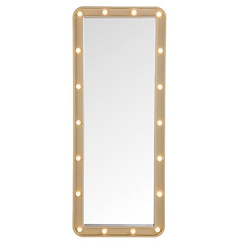 Give the back of any door some fabulous, functional style with this Door Solutions LED Light-Up Over-The-Door Marquee Mirror. Beautifully illuminate your dressing area with 18 included LED lights that can be switched on and off.
