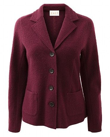 Classic Boiled Wool Blazer Add structure to your look with our Classic Boiled Wool Blazer. It features a v neck collar and functioning front pockets. Wear with our cord trousers and Emilia print blouse for stylish feminine look.