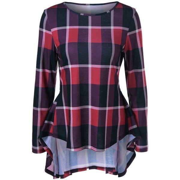 High Low Hem Plaid Peplum Blouse ($16) ❤ liked on Polyvore featuring tops, blouses, plaid top, plaid blouse, tartan blouse, tartan top and peplum tops - blouses, peplum, lehenga, work, wrap, satin blouse *ad