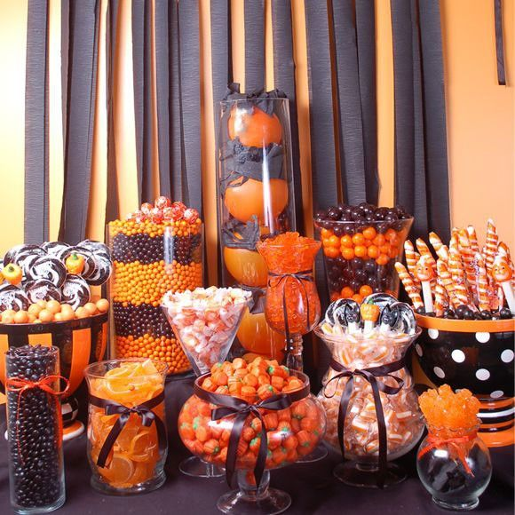We love the idea of this Halloween themed candy buffet. Here are 3 fall themes to inspire the shower you are planning for your engaged friend: http://www.mywedding.com/articles/3-fall-bridal-shower-ideas/