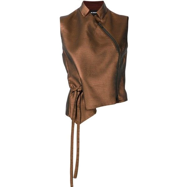 Ann Demeulemeester zipped detail sleeveless blouse ($1,560) ❤ liked on Polyvore featuring tops, blouses, brown, brown blouse, sleeveless blouse, brown tops, ann demeulemeester and sleeveless tops