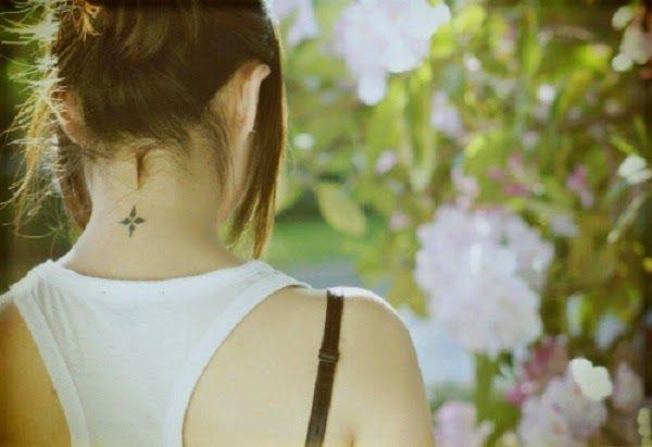 cute small neck tattoo