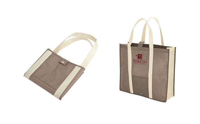 Recyclable, reusable tote. Snap closure and folds for storage in almost any location when not in use!