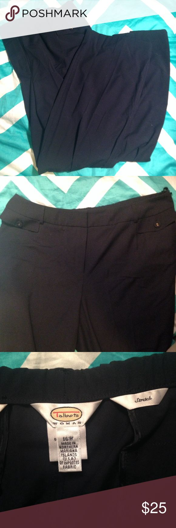 """Talbots Navy Dress Pants Talbots Dress Pants in Navy 🌟Condition: Excellent used condition.  📐Measurements: Approx 19"""" at waist laid flat and 29"""" inseam.  👗Style: Dress pants with front zip and decorative pocket flaps at front 💎Material: Polyester, Viscose, Spandex 📝Additional Info: Machine wash Talbots Pants Trousers"""