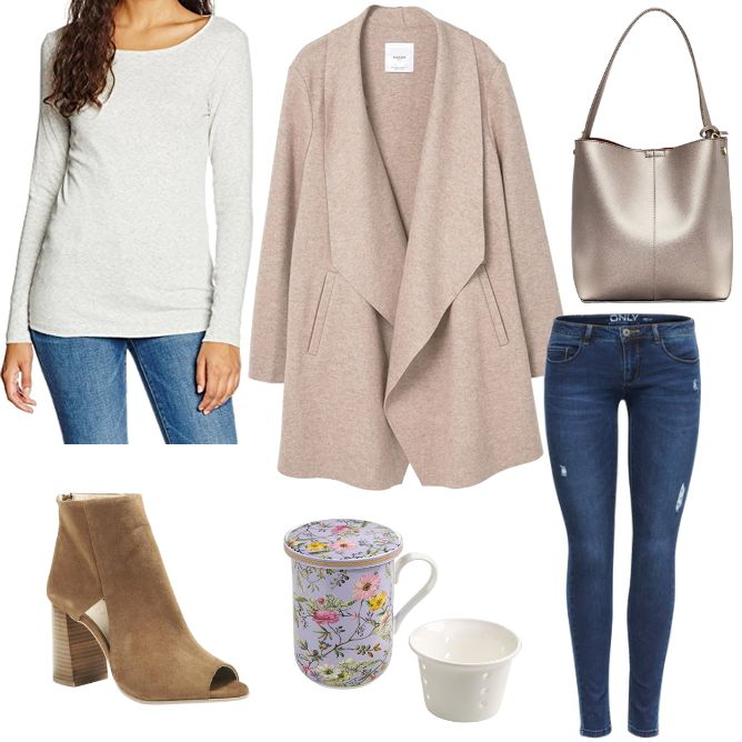 OneOutfitPerDay 2017-04-11 - #ootd #outfit #fashion #oneoutfitperday #fashionblogger #fashionbloggerde #frauenoutfit #herbstoutfit - Frauen Outfit Frühlings Outfit Outfit des Tages Cognac Handtasche Heine HOUSE OF ENVY Jeans Mango Mantel Maxwell & Williams ONLY Shirt Skinny Stiefelette T-Shirt Tom Tailor Wollmantel