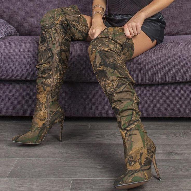 """tres jolie avec une robe courte en cuir"" -marie a.   Knee boots, Over knee boot, Fashion"