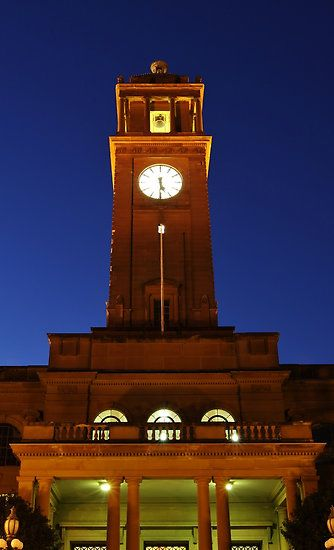 Town Hall Clock Tower - Newcastle NSW @ Night by Park Lane Photography