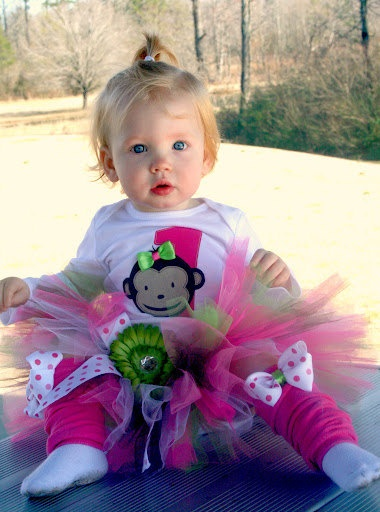 Mod Monkey Birthday Theme Tutu Set YOU Choose COLORS. $50.00, via Etsy.