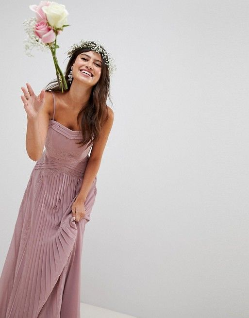 409bb2dcc880 ASOS DESIGN | ASOS DESIGN Bridesmaid Pleated Panelled Cami Maxi Dress With  Lace Inserts