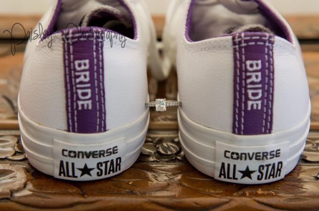 Emerald Solitaire Wedding Ring - Wedding Converse Shoes - Purple Wedding Shoes