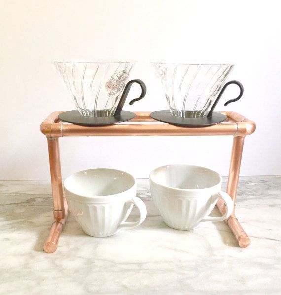 Coffee Stand Copper Pipe Double Pour Over Industrial Drip