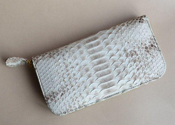 zip around genuine python leather wallet by OkeanaAccessories