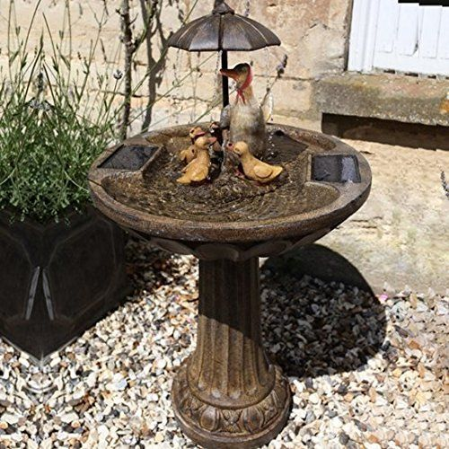 umbrella fountain duck family bronze effect water feature by smart solar is an attractive self contained solar powered birdbath water fountain