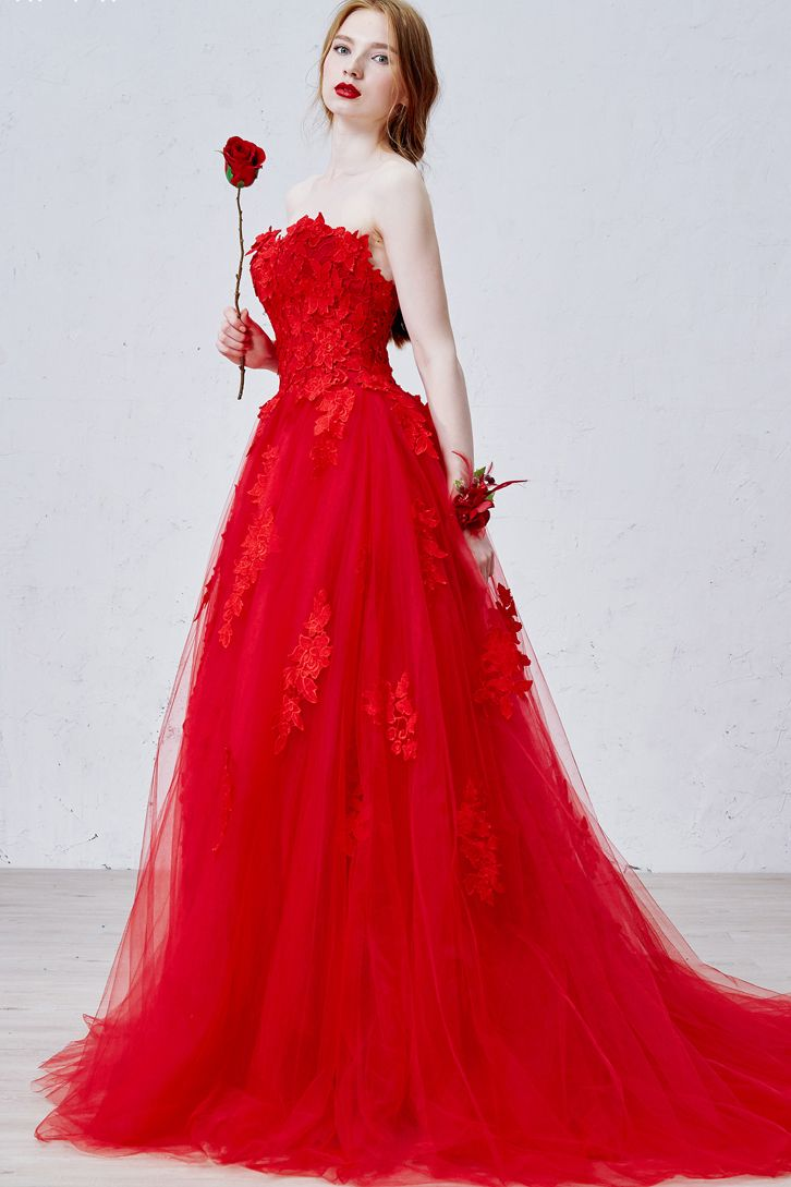 Red+Sweetheart+a+Line+Tulle+Lace+Up+Sweep+Train+Wedding+Dress+WDWD1105