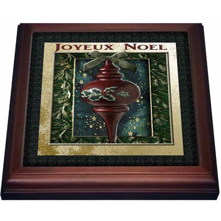 3dRose Joyeux Noel, Merry Christmas in French, Vintage Wooden Ornament , Trivet with Ceramic Tile, 8 by 8-inch