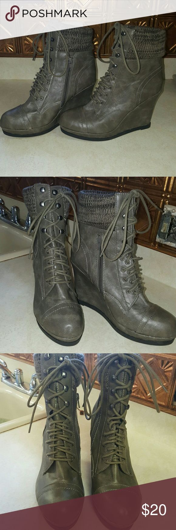 Gray wedge sweater cuff ankle boots! Gray wedges, sweat cuff at the top, zip up sides and in perfect condition! Worn only one time! Mossimo Supply Co Shoes Lace Up Boots