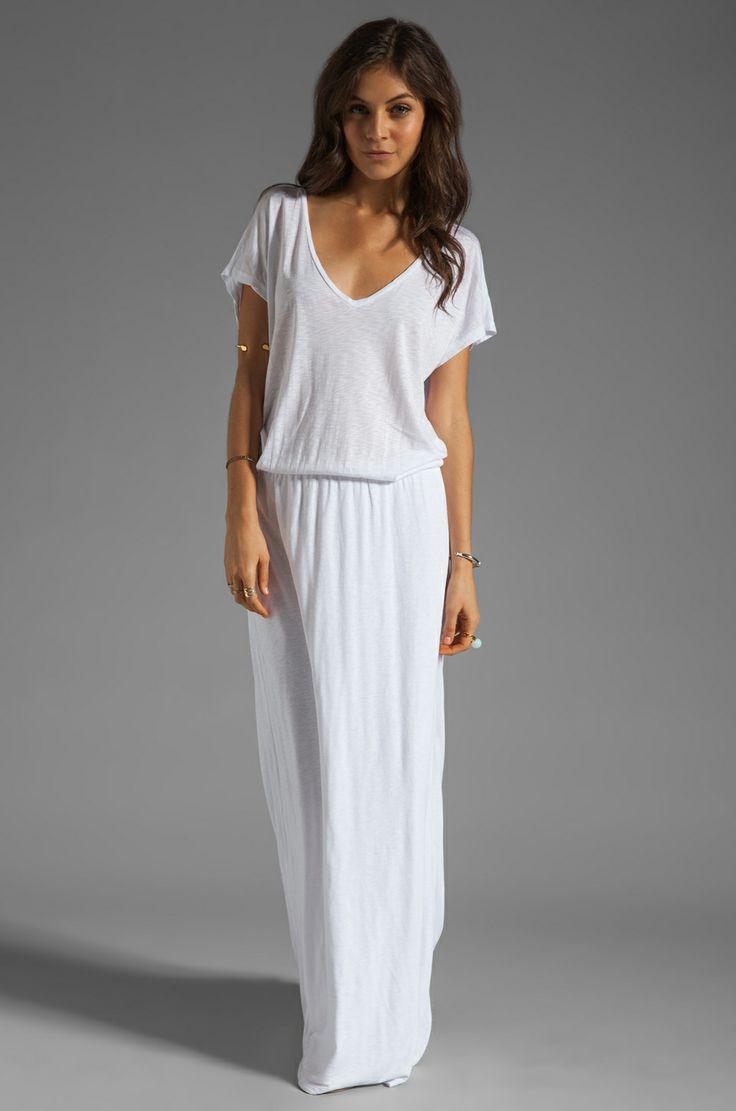 Velvet by Graham & Spencer Lizia Luxe Slub Maxi Dress in White