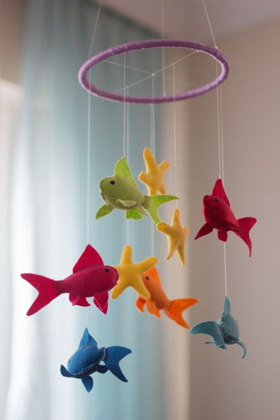 Fish Baby Mobile   Baby Mobile  Felt Nursery by DreamFlakeShop