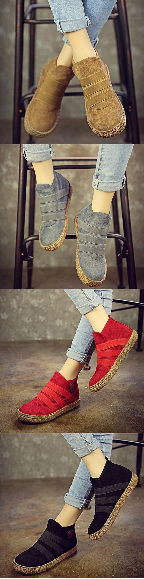 Elastic Slip On Pure Color Ankle Flat European Style Boots.Shop Today!