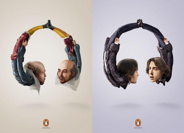 Reklama audiobooków - William Szekspir i Oscar Wilde w twoich słuchawkach - dosłownie :)