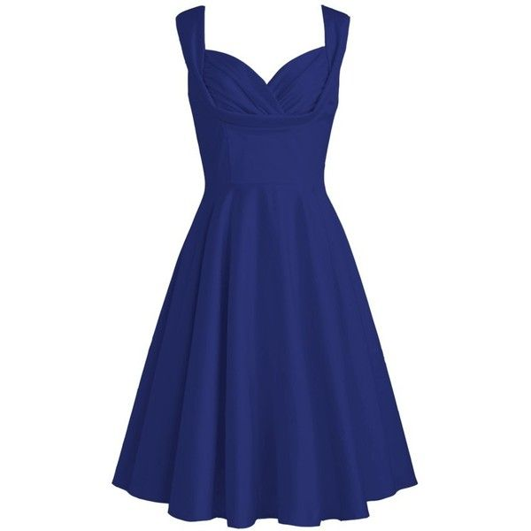 Pleated Satin Dress | Plus and Petite sizes available! Hundreds of... ($9.05) ❤ liked on Polyvore featuring dresses, petite cocktail dress, blue cocktail dresses, petite dresses and blue dress