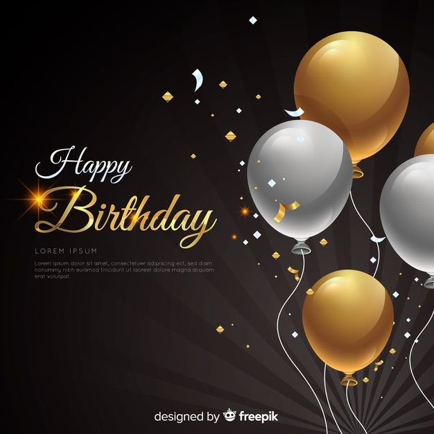 Realistic Birthday With Balloons Background Free Vector Birthday With Golden And Silver Ballons In Happy Birthday Man Happy Birthday Art Happy Birthday Design