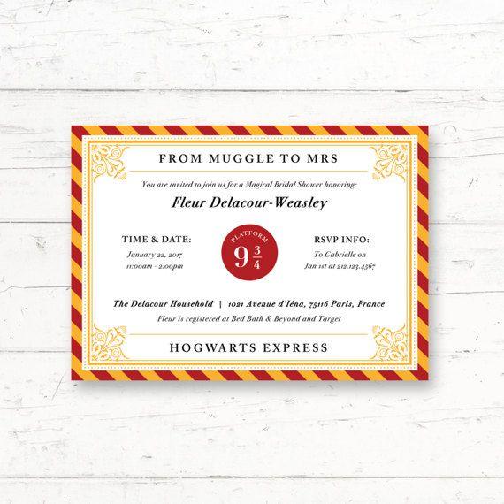 harry potter hogwarts express platform 9 34 bridal shower printable invitation by crissydesignco - Harry Potter Party Invitations