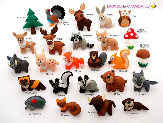 Mehr Bilder hier:  http://www.ladybugonchamomile.com/galleries/forest-animals/  Lustige Mini-Magnet-Waldtiere und Dinge, Filz, gefüllt mit polyester  (Der Preis gilt pro 1 Stück)  Waldtiere und Dinge:  1. Tanne (2) Auerhahn 3. Elch 4. Hase 5. owl (6) doe (7) Hirsch (8) Waschbär 9. coyote 10. roter Pilz 11. Keiler 12. Lynx (Bobcat) 13. Fox 14. beaver 15. Eichhörnchen 16. Steinpilze Pilz 17. wolverine 18. skunk 19. badger 20. Bär 21. Wolf 22. Igel 23. marten 24. Bisons (Buffalo) 25. otter…