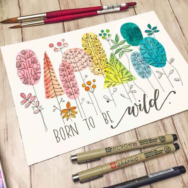 Wunderliche Aquarelle und einfache Blumenzeichnungen