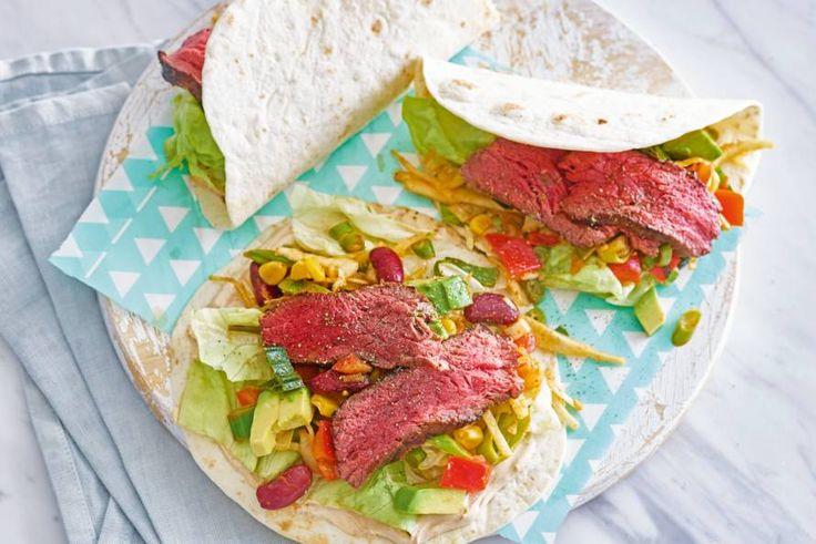 Snelle wraps met biefstuk met een Amerikaans tintje: dinner is ready!- Recept - Allerhande