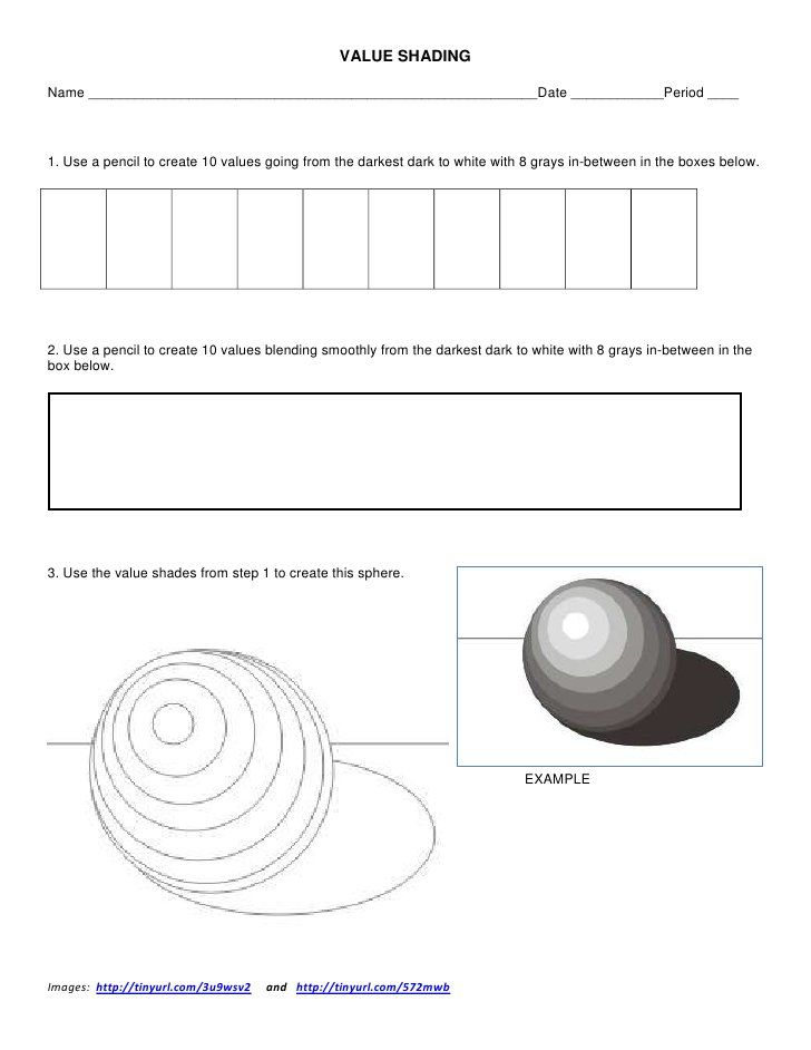Value Shading Worksheet by ksumatarted, via Slideshare
