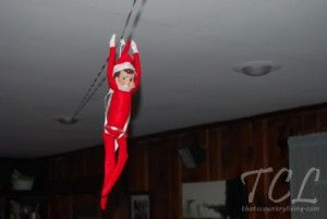 Zipline! elf on the shelf g 300x201 25 Elf on the Shelf QUICK & EASY Ideas that take Under 5 mins!