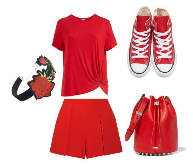 """""""Red"""" by saryr on Polyvore featuring mode, Alice + Olivia, Abito, Converse, WithChic, Alexander Wang et plus size clothing"""