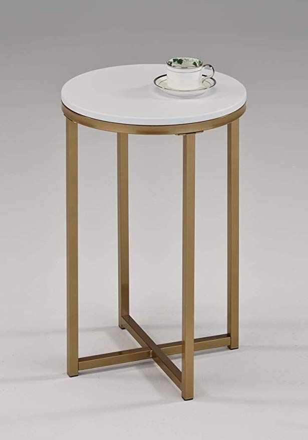 White And Gold Finish Tempered Glass Round Side End Accent Table 24 H 45 Accent Table Round Accent Table Geometric Side Table