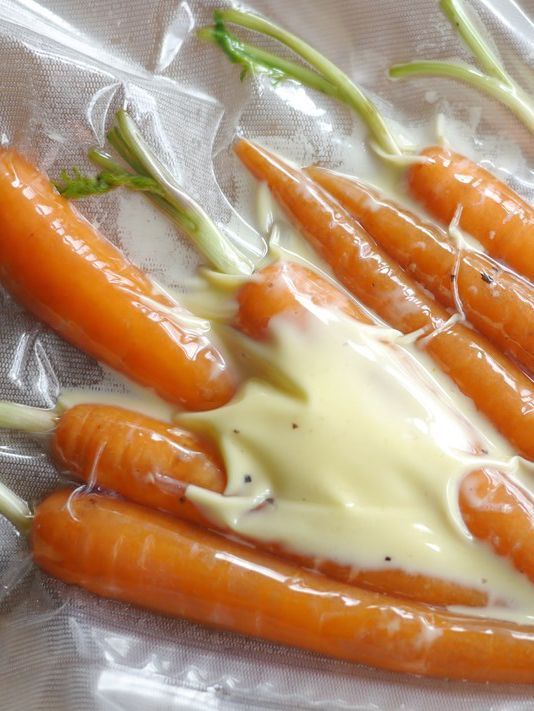 Cooking carrots sous vide prevents all the flavour and nutrients leaching out, resulting in crunchy, flavoursome carrots every time.