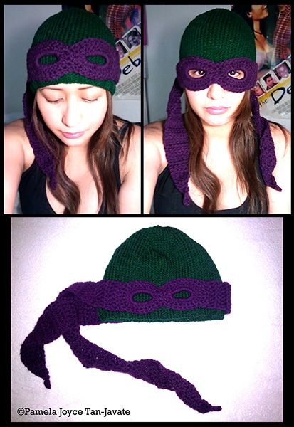 TMNT hat with functioning mask. I see this coming off my loom in the near future.