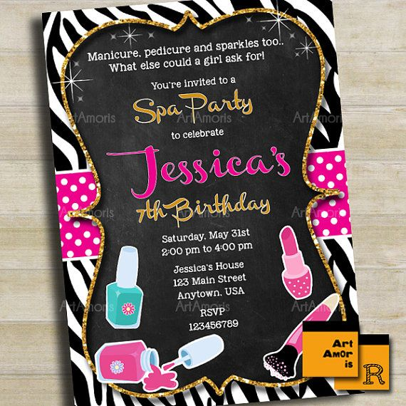 106 best cumpleanos spa images on Pinterest Spa party, Pamper - best of birthday invitations sleepover party