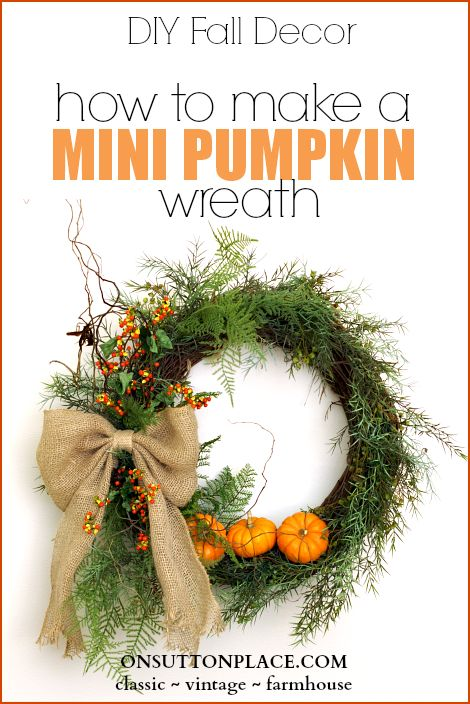 Use this method to add any kind of pumpkin to a fall wreath. Clear directions and pics included! by @O N Sutton Place