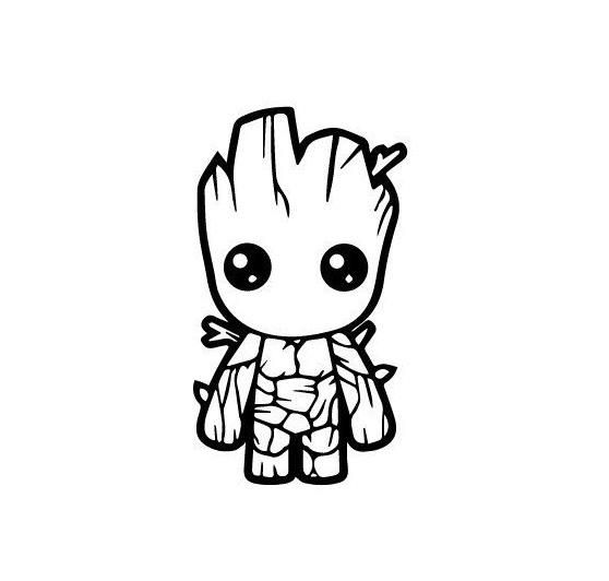 Baby Groot Guardians Of The Galaxy Silhouette Vinyl Decal