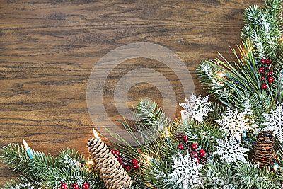 Wood Background With A Seasonal Christmas Holiday Border Stock Photo - Image: 47127616