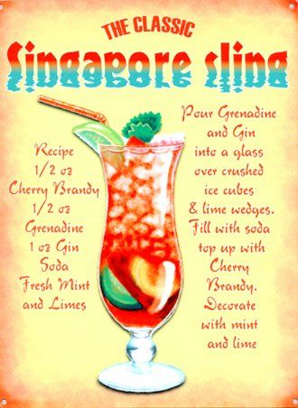 Singapore Sling takes me back to when we got married, we used to drink these!