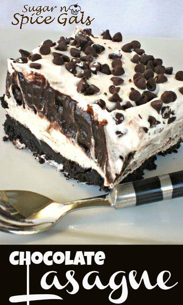 Yummy Chocolate Lasagna on MyRecipeMagic.com #lasagna #chocolate