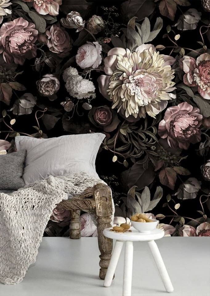 {SPACE INSPIRATION} I'm not a big floral person, but I absolutely love the look of this wall paper ~ New dark floral wallpaper by Ellie Cashman.