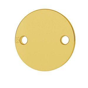 Intercalaire rond 2 trous à graver 9 mm en Argent 925 doré x1