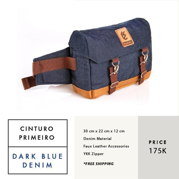 CINTURO PRIMEIRO DARK BLUE DENIM  IDR 175.000  FREE SHIPPING ALL OVER INDONESIA    Dimension: 30 cm x 22 cm x 12 cm 8 Litre   Material: High Quality Denim Faux Leather Accessories Leather Accessories YKK Zipper  #GoodChoiceforGoodLooking